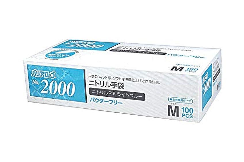 牛肉無折【ケース販売】 バリアローブ №2000 ニトリルP.F.ライト ブルー (パウダーフリー) M 2000枚(100枚×20箱)