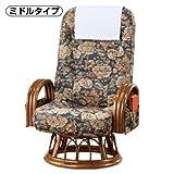 籐肘付きハイバック回転座椅子 ミドル