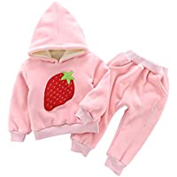 ALLAIBB Baby Girls 2Pcs Warm Thick Fleece Outfit Active Sweatsuit Cute Strawberry Print Size 1T (Pink)