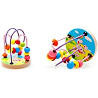 Joyeee Multicolor Wooden Bead Roller Coaster 2 - Forest Animal Pattern - Compact Size Early Education Beads Maze Toys for Your Kids - Perfect Christmas Gift Ideas