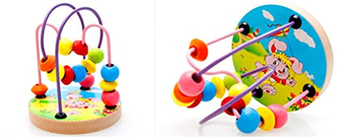 豊富入札原点Joyeee Multicolor Wooden Bead Roller Coaster 2 - Forest Animal Pattern - Compact Size Early Education Beads Maze Toys for Your Kids - Perfect Christmas Gift Ideas