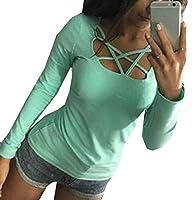 Keaac レディースカジュアルロングスリーブTシャツ Green S