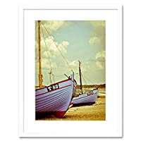 Photo Fishing Boats Beach Sea Sand Framed Wall Art Print 写真釣りボートビーチ砂壁