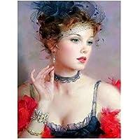 キャラクターエレガントな女性Diy 5Dダイヤモンド塗装キットフルドリルラインストーンクリスタル刺繍写真クロスステッチアート用ギフト家の装飾、40×50センチ
