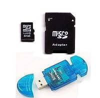 Komputerbay 32GB MicroSD SDHC Microsdhc Class 6with Micro SDアダプタとブルーUSB SDリーダー