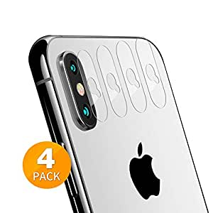 Tensea バックカメラレンズプロテクター Apple iPhone Xs Max/Xs/X 強化ガラスフィルムスクリーンプロテクター 傷防止 指紋防止 超薄型 高解像度 4パック