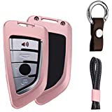 First2savvv Pink Aluminum Metal Car Key Case Shell Cover with Key Chain for BMW 2015 2016 2017 2018 X1 F48 X3 X4 X5 X6 Remote Smart 3 4 Buttons