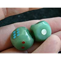 Eld2819 Green Aventurine Dice Pair Stone Dots