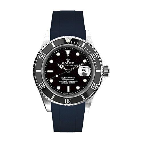 [ラバービー] RubberB ラバーベルト ROLEXサブマリーナ専用(Ref.14060以外/ノンセラミック)(ROLEX純正バックルを使用)(ネイビー)※時計は付属しません(Watch is not included)[並行輸入品]