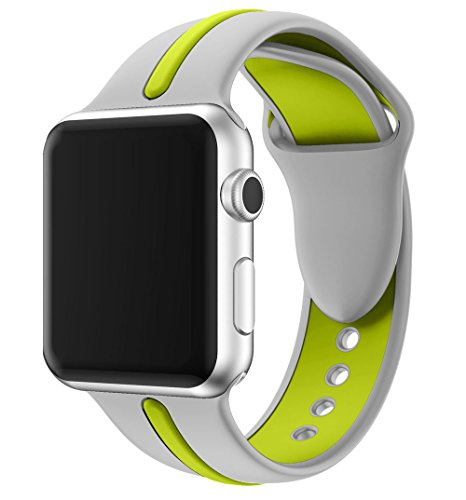 VICARA for Apple Watch シリカゲル素材緑縞柔らか運動型 バンド(38mm銀緑)