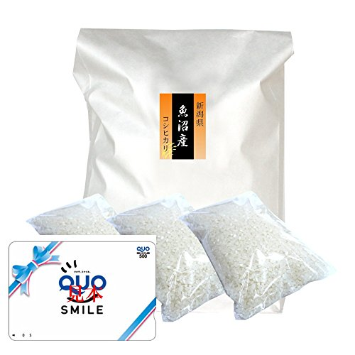 【お祝い お返し用】 新潟 南魚沼産コシヒカリ [無洗米] 3kg クオカード500円分セット