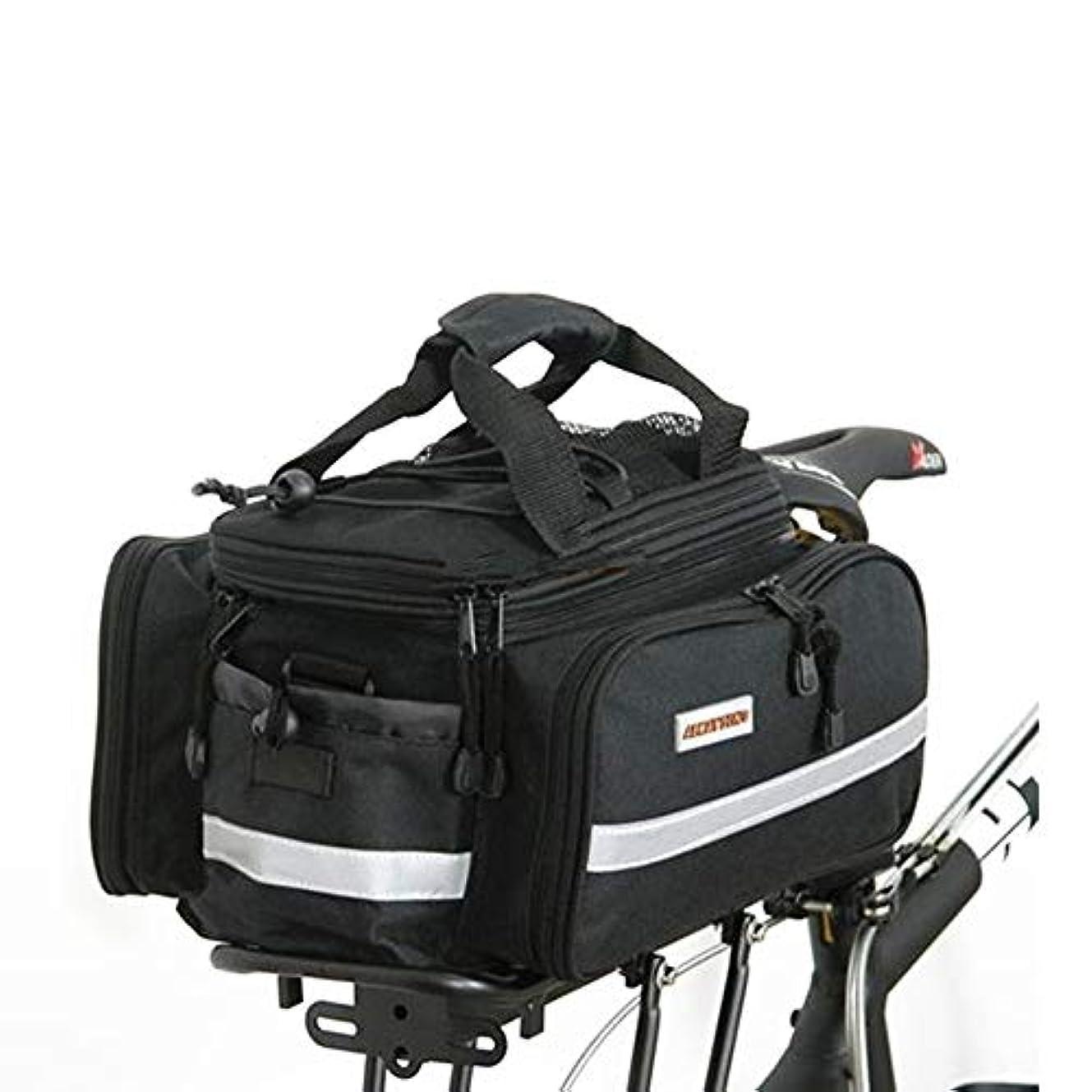 強いタイル報奨金自転車パニエトランクバッグ、大容量防水自転車リアシートパニエフィット (色 : ブラック)