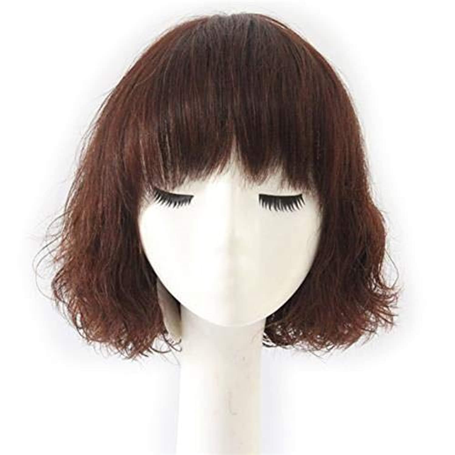 端末天国間かつら 女性のファッションかつらのためのダークブラウンのリアルヘアウィッグショートカーリーペアヘッド (色 : Natural color)