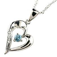 [アトラス] Atrus オープンハート ネックレス プラチナ ブルートパーズ ダイヤモンド プラチナ900 チェーン プラチナ850 11月誕生石