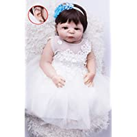 annedoll Lifelike 22インチGirlボディフルシリコンReborn Babies Withイヤリング55 cm Lovely新生児女の子人形withホワイトドレスBedtimeおもちゃ少年少女ギフト