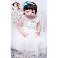 annedoll Lifelike 22インチGirlボディフルシリコンReborn Babies Withイヤリング55 cm Lovely新生児女の子人形withホワイトドレスBedtimeおもちゃ少年少女ギフト