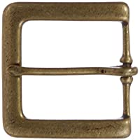 """1 3/8"""" (35 mm) Single Prong Solid Brass Square Belt Buckle"""