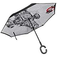 Firefly Serenity Sumi E Double Layer Inverted Umbrella for Car Reverse Folding Upside Down C-Shaped Hands - Lightweight & Windproof – Ideal Gift