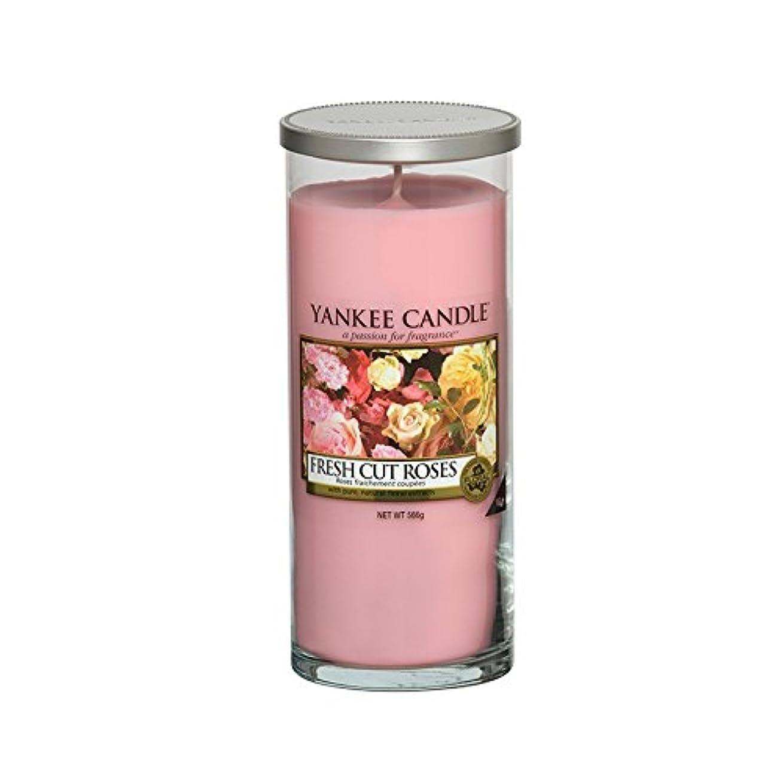 膿瘍投獄曲がったYankee Candles Large Pillar Candle - Fresh Cut Roses (Pack of 2) - ヤンキーキャンドル大きな柱キャンドル - 新鮮なバラ切り花 (x2) [並行輸入品]