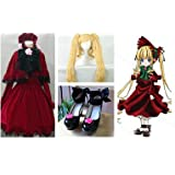 HALLE SHOP---ローゼンメイデン Rozen Maiden 真紅 コスプレ衣装+ウィッグ+靴 コスチューム ハロウィン、クリスマス、イベント、お祭り仮装など (女性S, 靴サイズ(ご注文してから教えてください。))