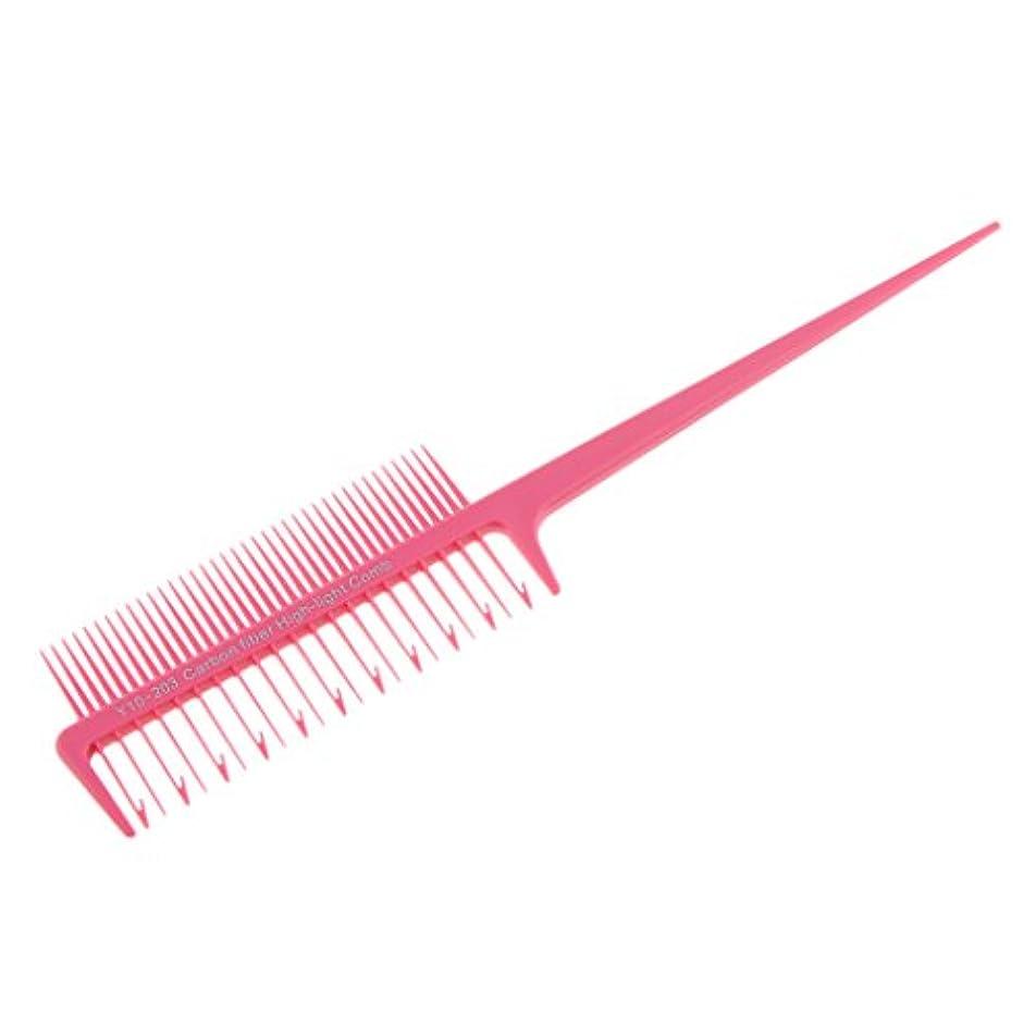 ペグめったに極めて2ウェイサロンスタイリングマイクロブライディングセクショニング織りハイライトハイライトくし4色プラスチックを選択する - ピンク