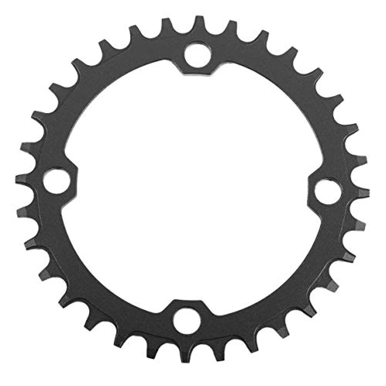 衝動細菌上がるDECKAS Narrow Wide Bike MTB Crank Round Oval Chainring Chain Ring自転車Chainwheel Bike Circle Single Plate-ブラック