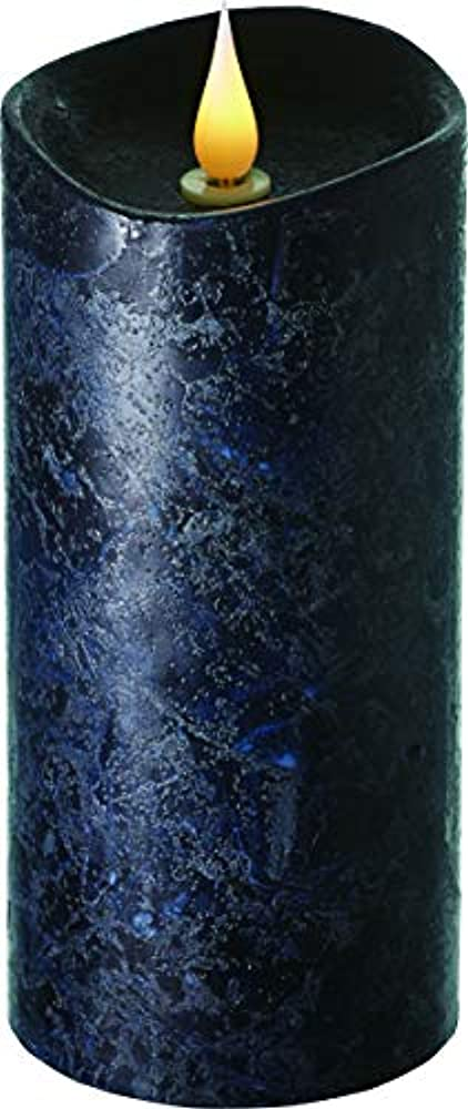 息切れ差別化する書き出すエンキンドル 3D LEDキャンドル ラスティクピラー 直径7.6cm×高さ18.5cm ブラック