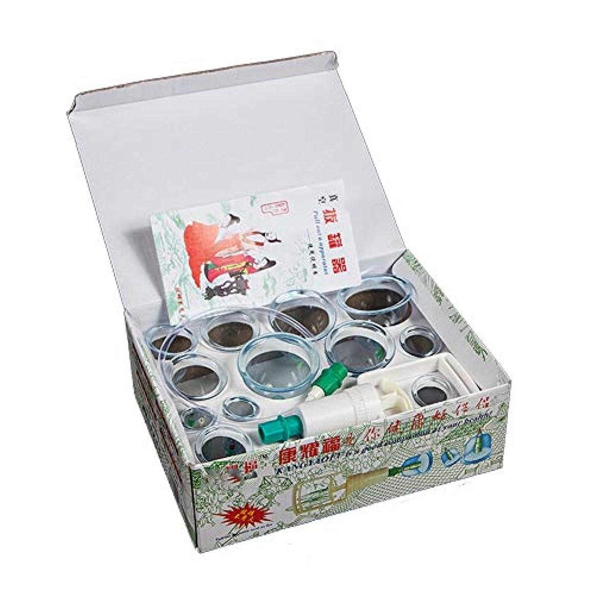 洪水一致する悲しいことに12カップカッピングセットプラスチック、真空吸引生体磁気中国ツボ療法、ポンプ付きの家、ボディマッサージ痛み緩和理学療法排泄毒素