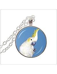 メッキオウムの写真の襟のネックレスの動物の宝石ガラスカボションチョーカーネックレスジュエリーオウムのペンダントネックレスシルバー