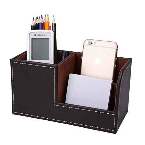 Zafina デスクオーガナイザー ペン立て卓上収納 ボックス 皮革レザー 3種類(ブラウン)