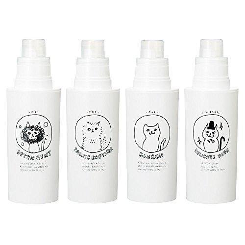 日本製 ネコランドリー 白 4本セット 500ml 洗濯洗剤 詰め替えボトル 詰替えボトル
