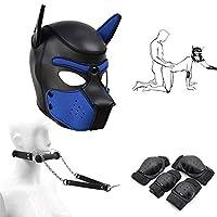 3ピース/セットボンデージデラックス子犬プレイコスプレキット、レザーヘッドマスクフード&ソフトパッド付き膝と肘キャップ保護カフボンデージ拘束付きマウスギャグ (Color : Blue, Size : S)