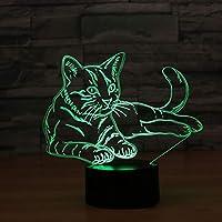 ボール型ライト イリュージョン光学子猫カラフルな3Dライト、タッチグラデーションLEDナイトライト CXF (色 : Remote control)
