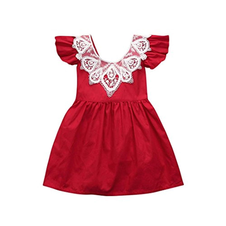 2色 かわいい 無袖 レース ワンピース/ドレス/スカート ベビー服 女の子 赤ちゃん服 幼児 子供服 女の子 長袖 5サイズ キッズ服 ロンパース カバーオール 満月/出産祝い/プレゼント80CM-90CM-100CM-110CM-120CM(6ヶ月-3歳)(赤色+黄色) (110CM/24ヶ月, 赤色)