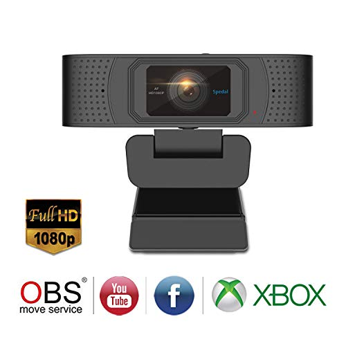 Spedal Webカメラ フルHD 1080p、美顔効果ライブストリーミングウェブカメラ、ステレオマイク2本、プライバシーシャッター、ウェブカム ストリーミングOBS Xbox XSplit Skypeフェイスブック用コンピュータラップトップカメラ、Mac OS Windows 10/8/7に対応