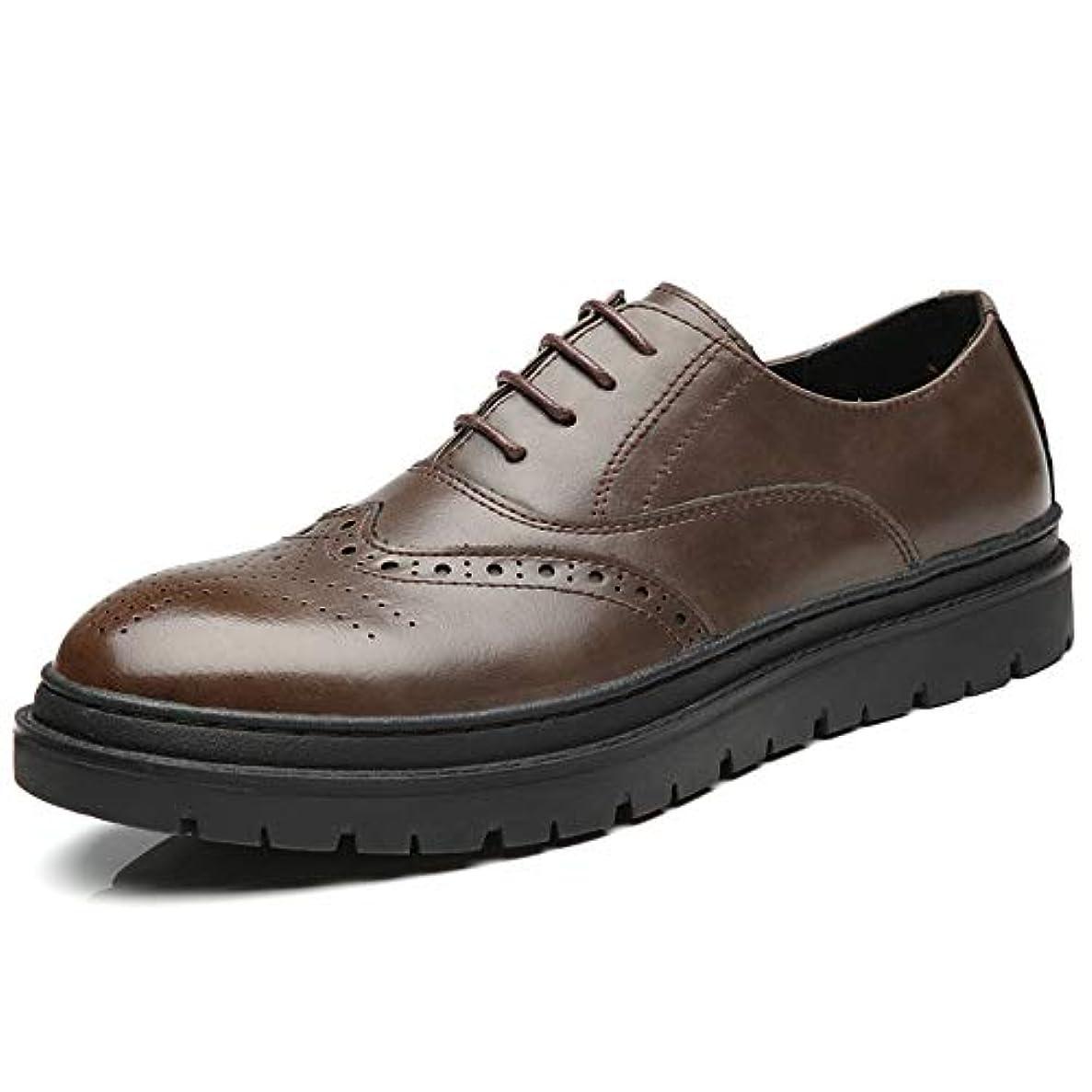 インク厚さ推進力レザーシューズ メンズ 紳士靴 ビジネス ウイングチップ メダリオン 内羽根 レースアップ 通気 厚底 滑り止め 頑丈 学生 通勤通学 走れる ブラック ブラウン