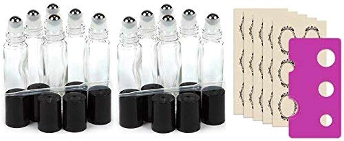 目を覚ます苗毛細血管True Aroma, 12 pcs, 10ml Clear Glass Roller Bottles with Stainless Steel Roller Ball for Essential Oil - Includes...