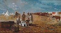 ¥5K-200k 手書き-キャンバスの油絵 - 美術大学の先生直筆 - Rainy Day In Camp 現実主義 painter Winslow Homer 絵画 洋画 複製画 ウォールアートデコレーション -サイズ17