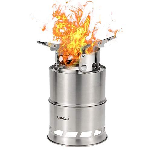 Lixada バーベキューコンロ・焚火台 ポータブル ステンレススチール製 薪ストーブ 固形燃料も使える
