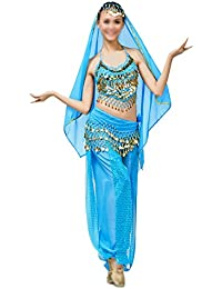 SODIAL ベリーダンス衣装コスチューム ベリーダンスセット インドダンスウェア 4枚 トップ&パンツ&ベルト&ヘッドバンド(レッド)
