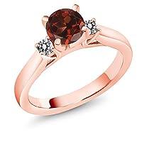 Gem Stone King 1.20カラット 天然 ガーネット 天然 ダイヤモンド シルバー925 ピンクゴールドコーティング 指輪 リング