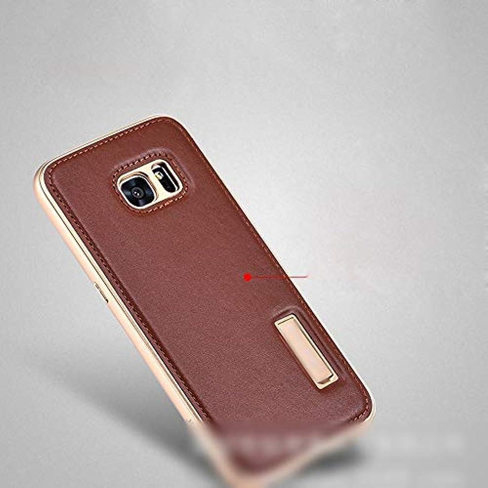 責める恥スペアTonglilili 電話ケース、高級レザーケース新しいメタル電話保護カバー電話ケースサムスンS6エッジ、S6、S7エッジ、S7、注5、注8、S8、S8プラス (Color : ブラウン, Edition : S6)