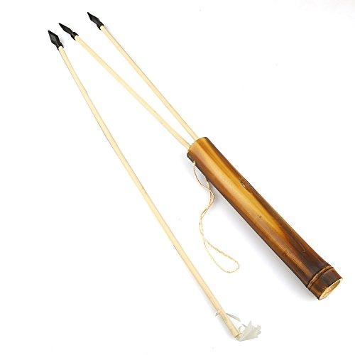 Easy Raku® 弓道練習 アーチェリーセット おもちゃ 木製の弓 伝統 手作りボウ 矢3本と矢筒付属 玩具 100cm