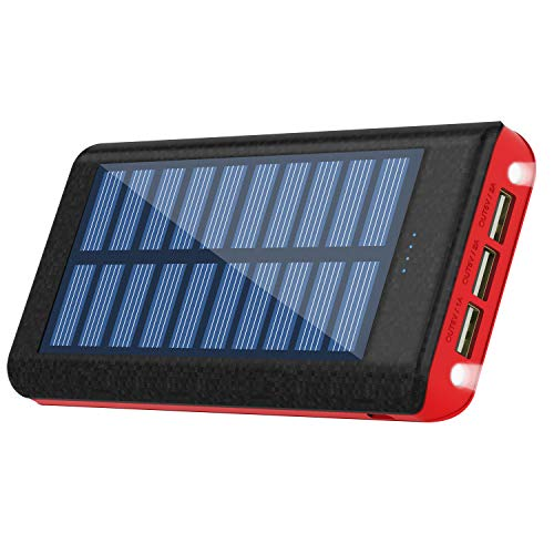 RuiPu ソーラーチャージャー モバイルバッテリー 大容量 24000mah 二個LEDランプ搭載 急速充電対応 太陽エネルギーパネル3USB出力ポート 災害と外出に対応
