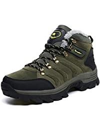 GX GLOBAL メンズ 登山靴 スエード牛革ブーツ 防水 軽量 ボア付き トレッキングシューズ アウトドアシューズ ウォーキングシューズ スキミング防止 防水 登山遠足用 防滑 レースアップ 39-44サイズ