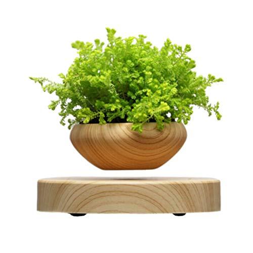 ZOMTOPクリエイティブホーム装飾鉢植え, 浮遊Air盆栽ポット,磁気浮上エア盆栽.ウッドプランター,アート木製鉢植え,浮く 盆栽