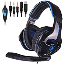 SADES SA810GT Stereo Gaming Headset for PS4, PC, Xbox One, Noise Cancelling Over Ear Headphones with Mic, Surround Sound, Soft Memory Earmuffs for Laptop Mac Nintendo Switch Games