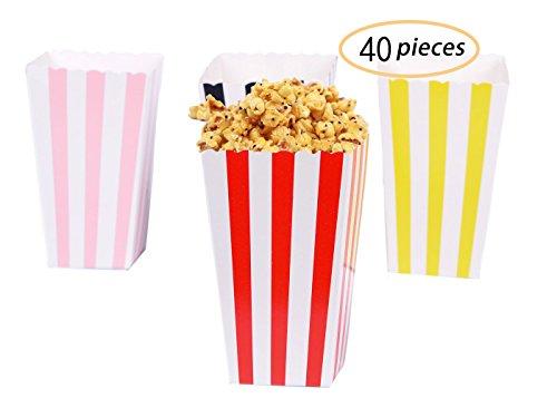 Yolito 40枚入り ポップコーンボックス 紙袋 お菓子、キャンディー容器、 映画館 パーティー 学園祭 ピクニック バーベキュー(4カラ)