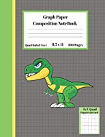 Graph Composition Notebook 4 Squares per inch 4x4 Quad Ruled 4 to 1 / 8.5 x 11 100 Sheets: Cute Funny Dinosaur Gift Notepad / Grid Squared  Paper Back To School Gift Notebook For Math Teens Science Adults Students Programmers note taking and formulas