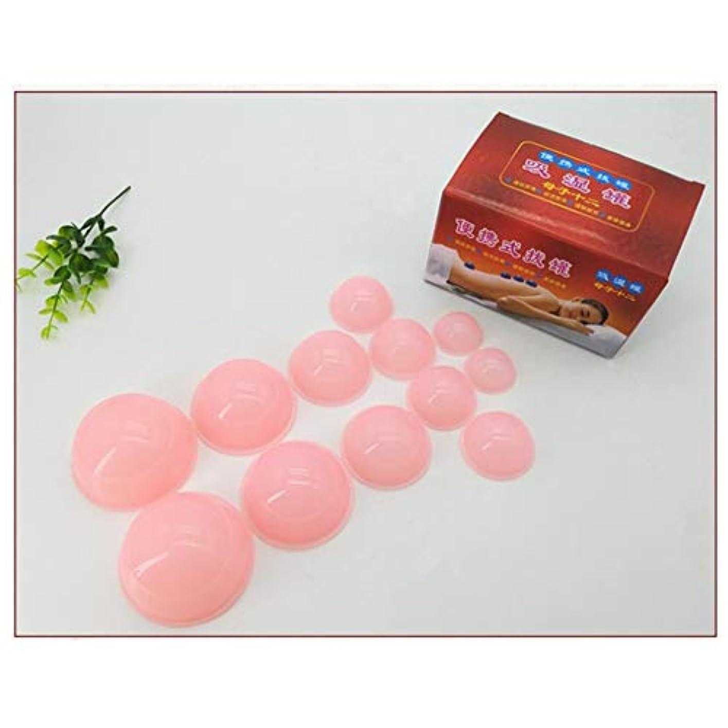 不変床効果的にアンチセルライトカップ - 真空マッサージキット - シリコーン療法カッピングセット用ボディフェイスホームスパヘルスケア12ピース,Pink
